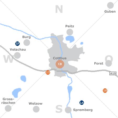 Karte mit Pensionen und anderen Unterkünften rund um Cottbus