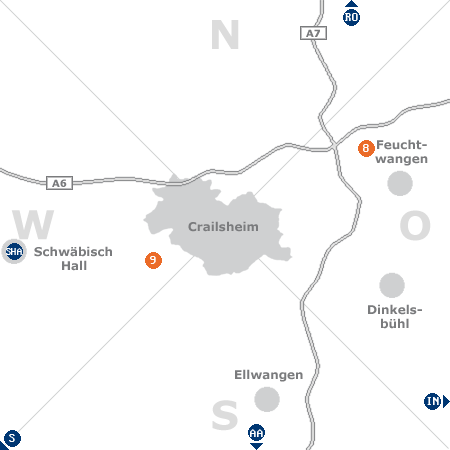 Karte mit Pensionen und anderen Unterk�nften rund um Crailsheim