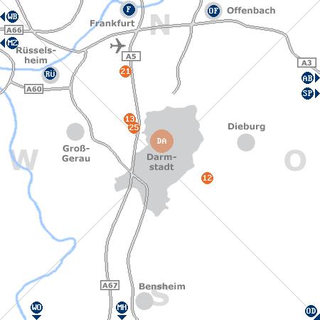 Karte mit Pensionen und anderen Unterkünften rund um Darmstadt
