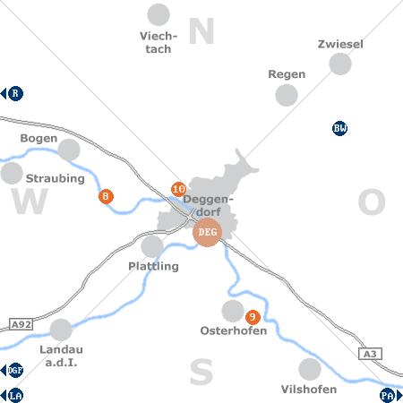 Karte mit Pensionen und anderen Unterkünften rund um Deggendorf