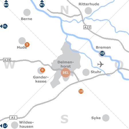 Karte mit Pensionen und anderen Unterkünften rund um Delmenhorst