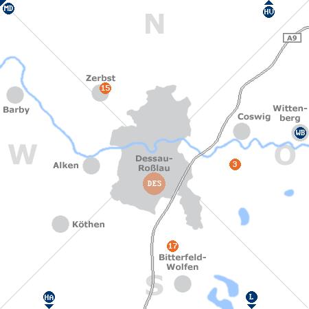 Karte mit Pensionen und anderen Unterk�nften rund um Dessau-Ro�lau