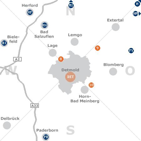 Karte mit Pensionen und anderen Unterkünften rund um Detmold