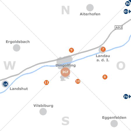 Karte mit Pensionen und anderen Unterkünften rund um Dingolfing