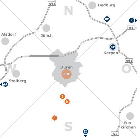Karte mit Pensionen und anderen Unterkünften rund um Düren