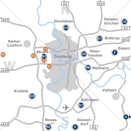 Karte mit Pensionen und anderen Unterk�nften rund um Duisburg