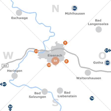 Karte mit Pensionen und anderen Unterkünften rund um Eisenach