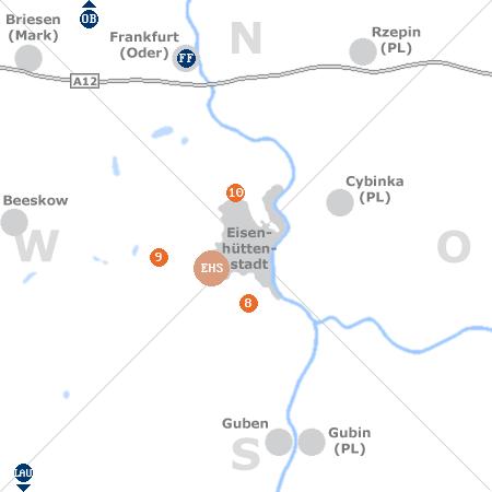 Karte mit Pensionen und anderen Unterkünften rund um Eisenhüttenstadt