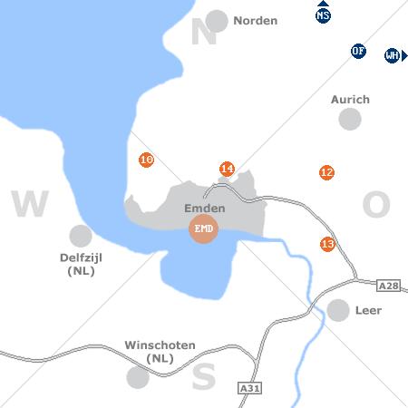 Karte mit Pensionen und anderen Unterkünften rund um Emden