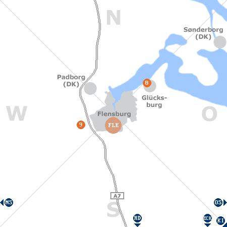 Karte mit Pensionen und anderen Unterkünften rund um Flensburg