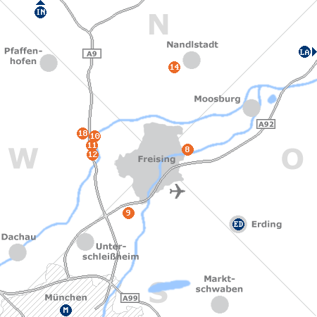 Karte mit Pensionen und anderen Unterkünften rund um Freising