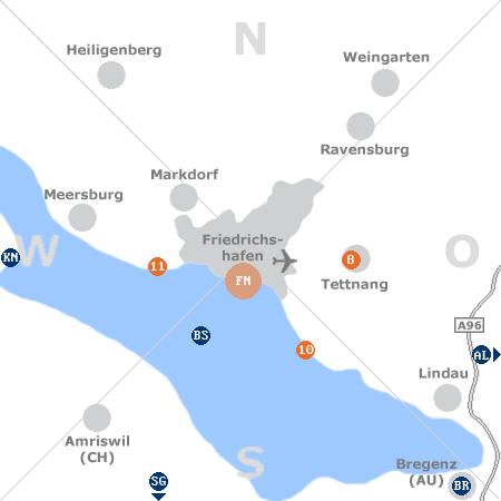 Karte mit Pensionen und anderen Unterkünften rund um Friedrichshafen