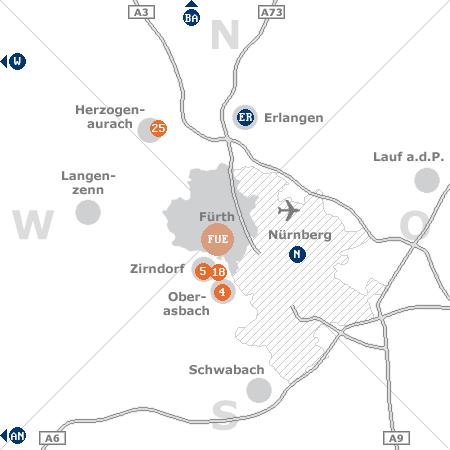 Karte mit Pensionen und anderen Unterkünften rund um Fürth