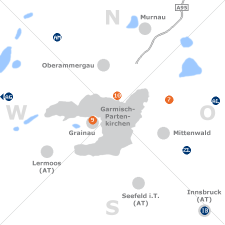 Karte mit Pensionen und anderen Unterkünften rund um Garmisch-Partenkirchen