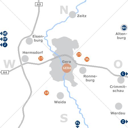 Karte mit Pensionen und anderen Unterk�nften rund um Gera