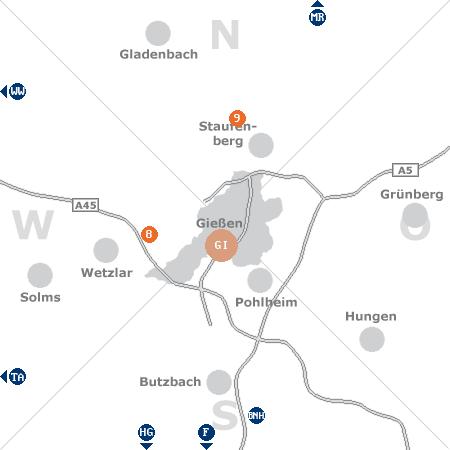 Karte mit Pensionen und anderen Unterk�nften rund um Gie�en