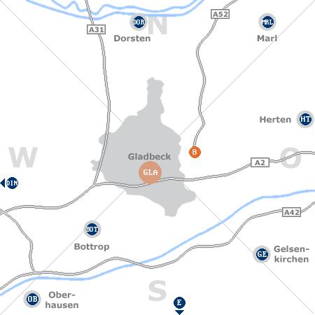 Karte mit Pensionen und anderen Unterk�nften rund um Gladbeck