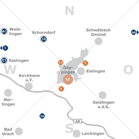 Karte mit Pensionen und anderen Unterk�nften rund um G�ppingen
