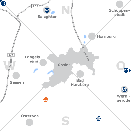 Karte mit Pensionen und anderen Unterk�nften rund um Goslar