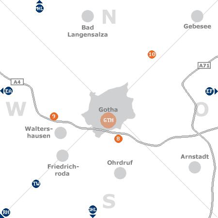 Karte mit Pensionen und anderen Unterkünften rund um Gotha