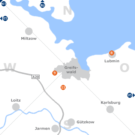 Karte mit Pensionen und anderen Unterk�nften rund um Greifswald