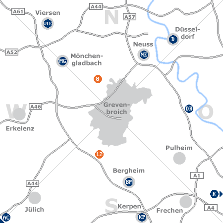 Karte mit Pensionen und anderen Unterkünften rund um Grevenbroich