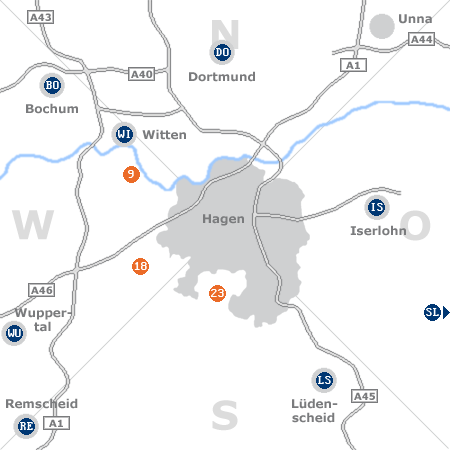 Karte mit Pensionen und anderen Unterk�nften rund um Hagen