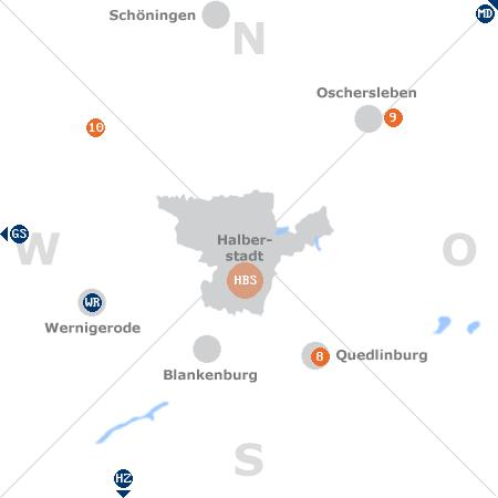 Karte mit Pensionen und anderen Unterkünften rund um Halberstadt