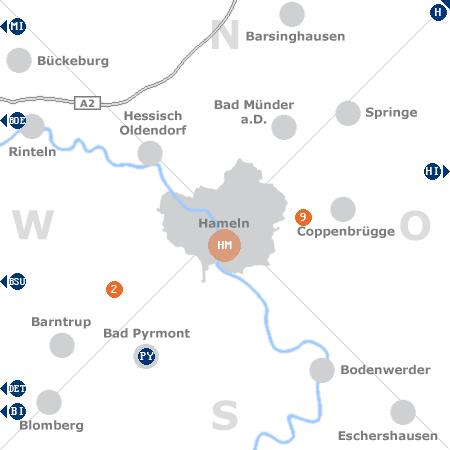 Karte mit Pensionen und anderen Unterk�nften rund um Hameln