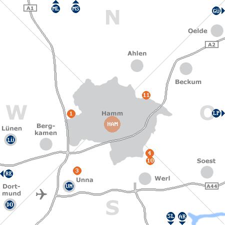 Karte mit Pensionen und anderen Unterk�nften rund um Hamm
