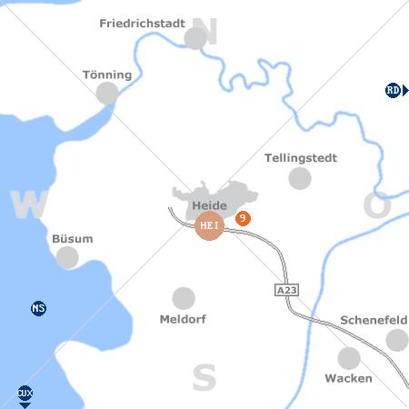 Karte mit Pensionen und anderen Unterk�nften rund um Heide (Holstein)