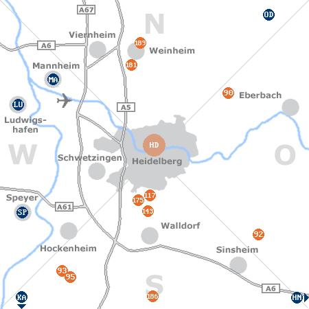 Karte mit Pensionen und anderen Unterkünften rund um Heidelberg