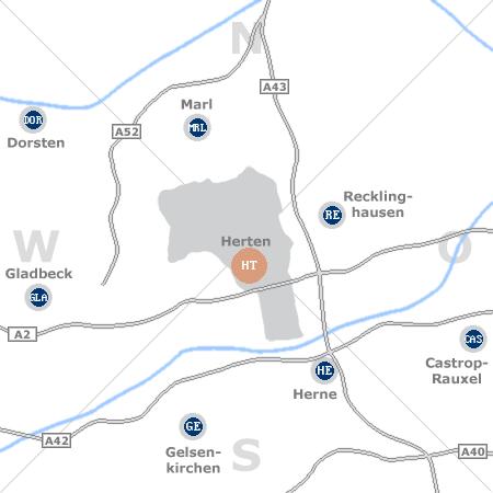 Karte mit Pensionen und anderen Unterk�nften rund um Herten