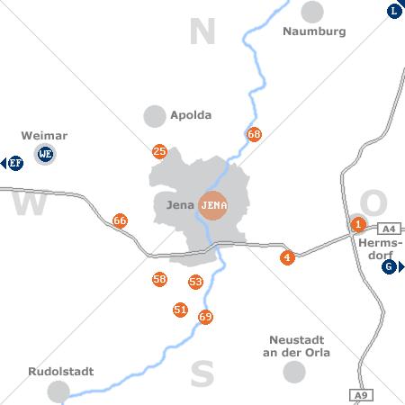 Karte mit Pensionen und anderen Unterkünften rund um Jena