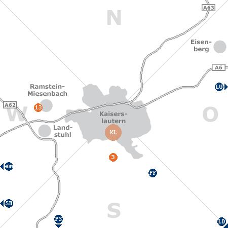 Karte mit Pensionen und anderen Unterkünften rund um Kaiserslautern