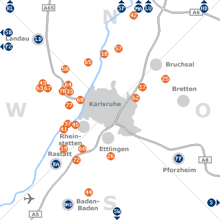 Karte mit Pensionen und anderen Unterk�nften rund um Karlsruhe