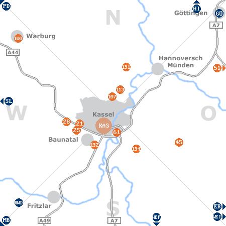 Karte mit Pensionen und anderen Unterk�nften rund um Kassel