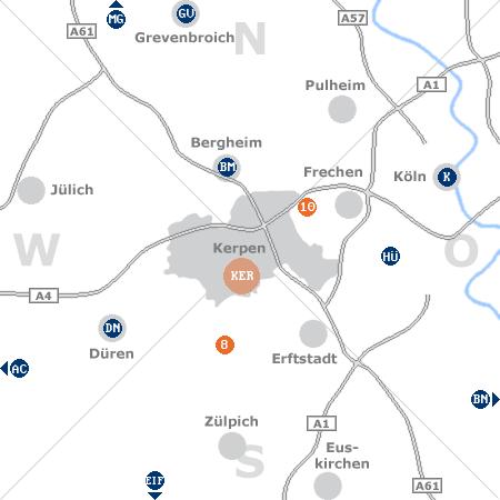 Karte mit Pensionen und anderen Unterk�nften rund um Kerpen