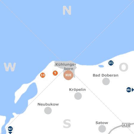 Karte mit Pensionen und anderen Unterkünften rund um Kühlungsborn