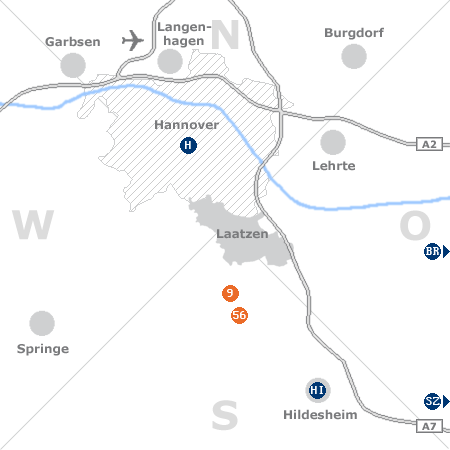 Karte mit Pensionen und anderen Unterk�nften rund um Laatzen