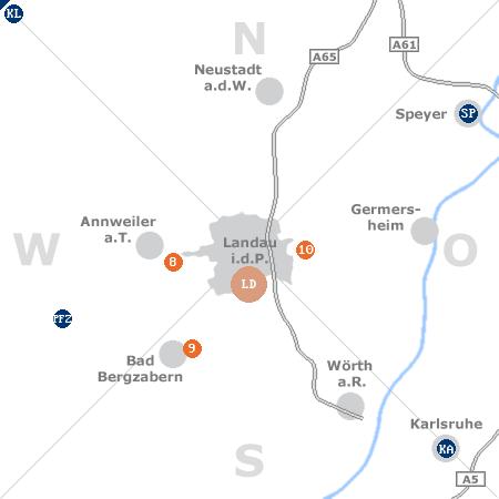 Karte mit Pensionen und anderen Unterkünften rund um Landau in der Pfalz