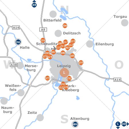 Karte mit Pensionen und anderen Unterkünften rund um Leipzig