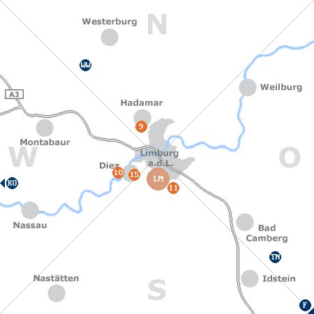 Karte mit Pensionen und anderen Unterkünften rund um Limburg an der Lahn