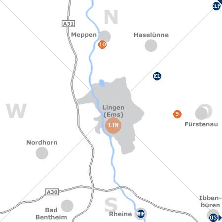 Karte mit Pensionen und anderen Unterkünften rund um Lingen (Ems)