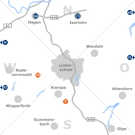 Karte mit Pensionen und anderen Unterk�nften rund um L�denscheid