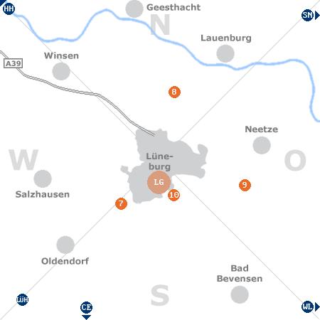 Karte mit Pensionen und anderen Unterkünften rund um Lüneburg