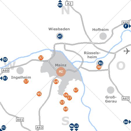 Karte mit Pensionen und anderen Unterk�nften rund um Mainz