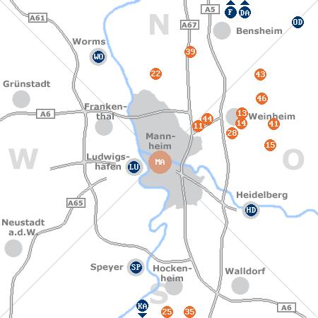 Karte mit Pensionen und anderen Unterkünften rund um Mannheim
