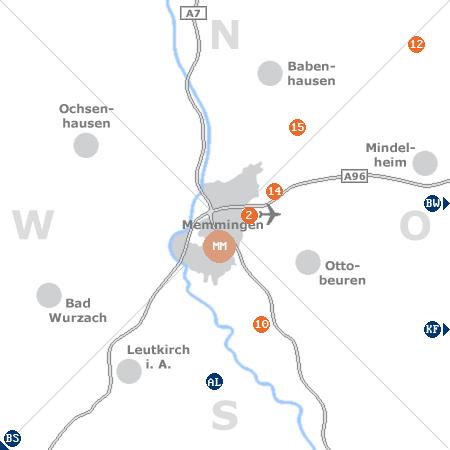 Karte mit Pensionen und anderen Unterkünften rund um Memmingen
