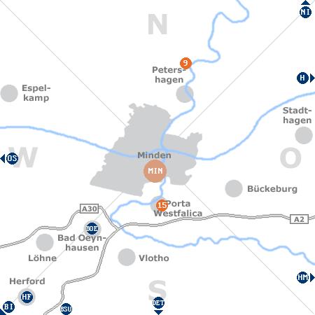 Karte mit Pensionen und anderen Unterkünften rund um Minden